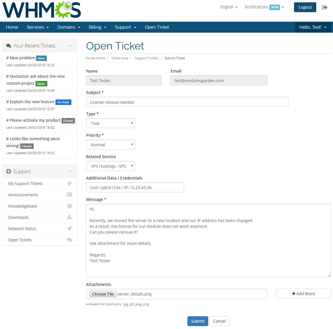 Zendesk For WHMCS: Module Screenshot 1