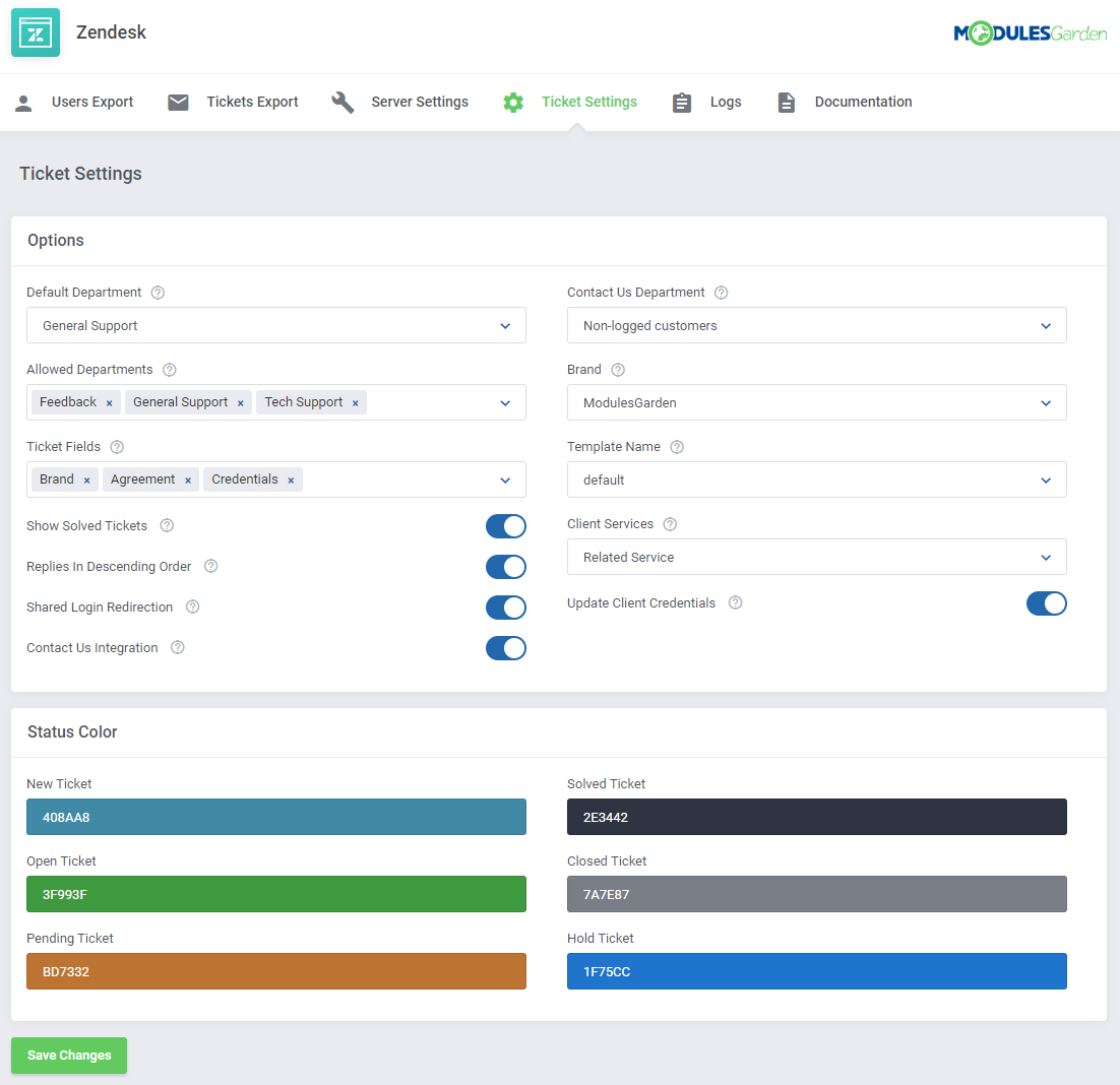 Zendesk For WHMCS: Module Screenshot 11