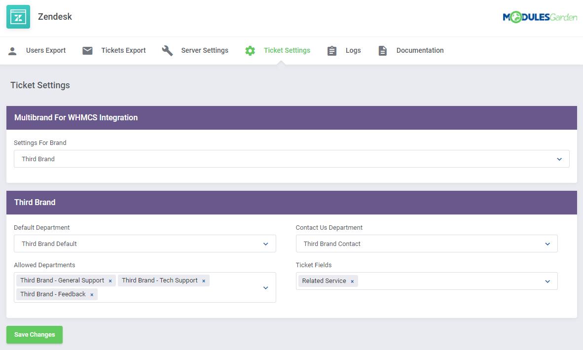 Zendesk For WHMCS: Module Screenshot 12