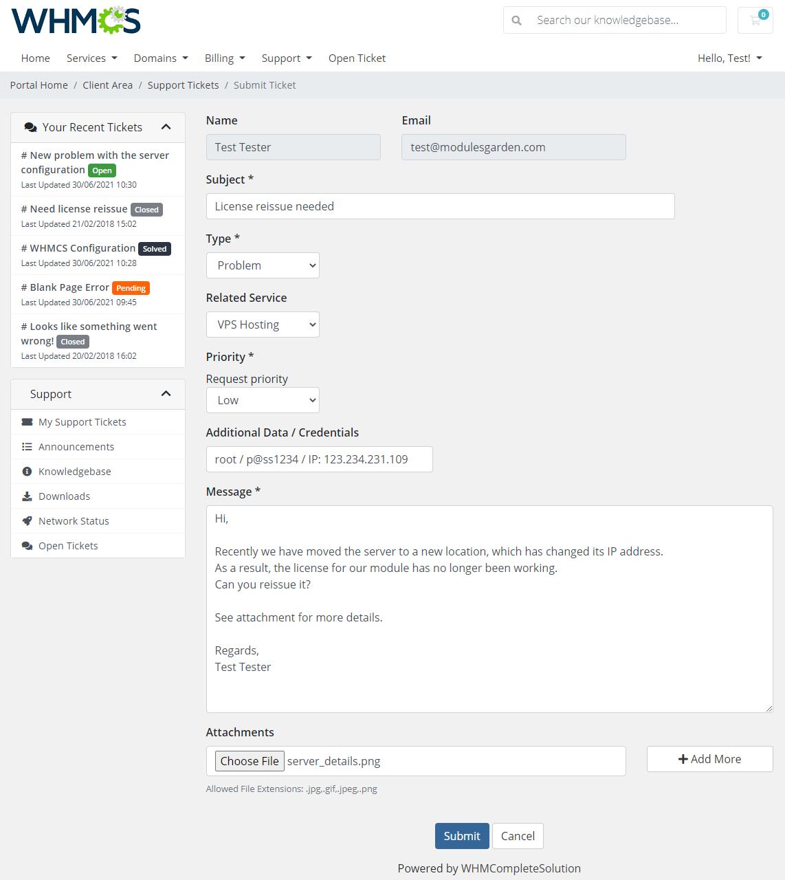 Zendesk For WHMCS: Module Screenshot 2