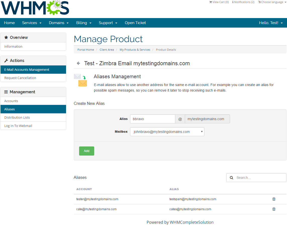 Zimbra Email For WHMCS: Screen 3