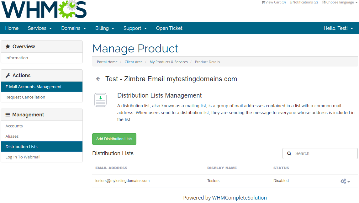 Zimbra Email For WHMCS: Screen 4