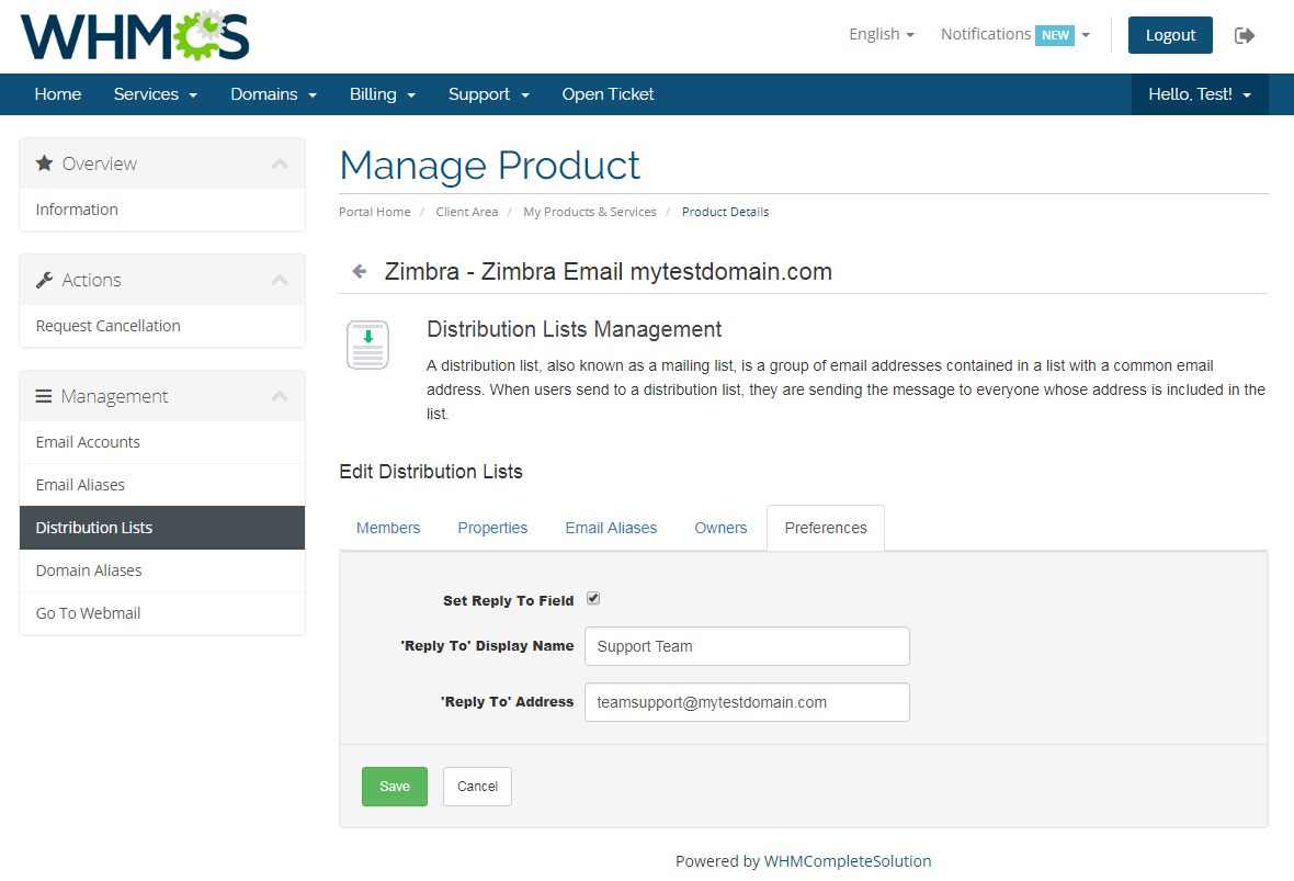 Zimbra Email For WHMCS: Screen 10
