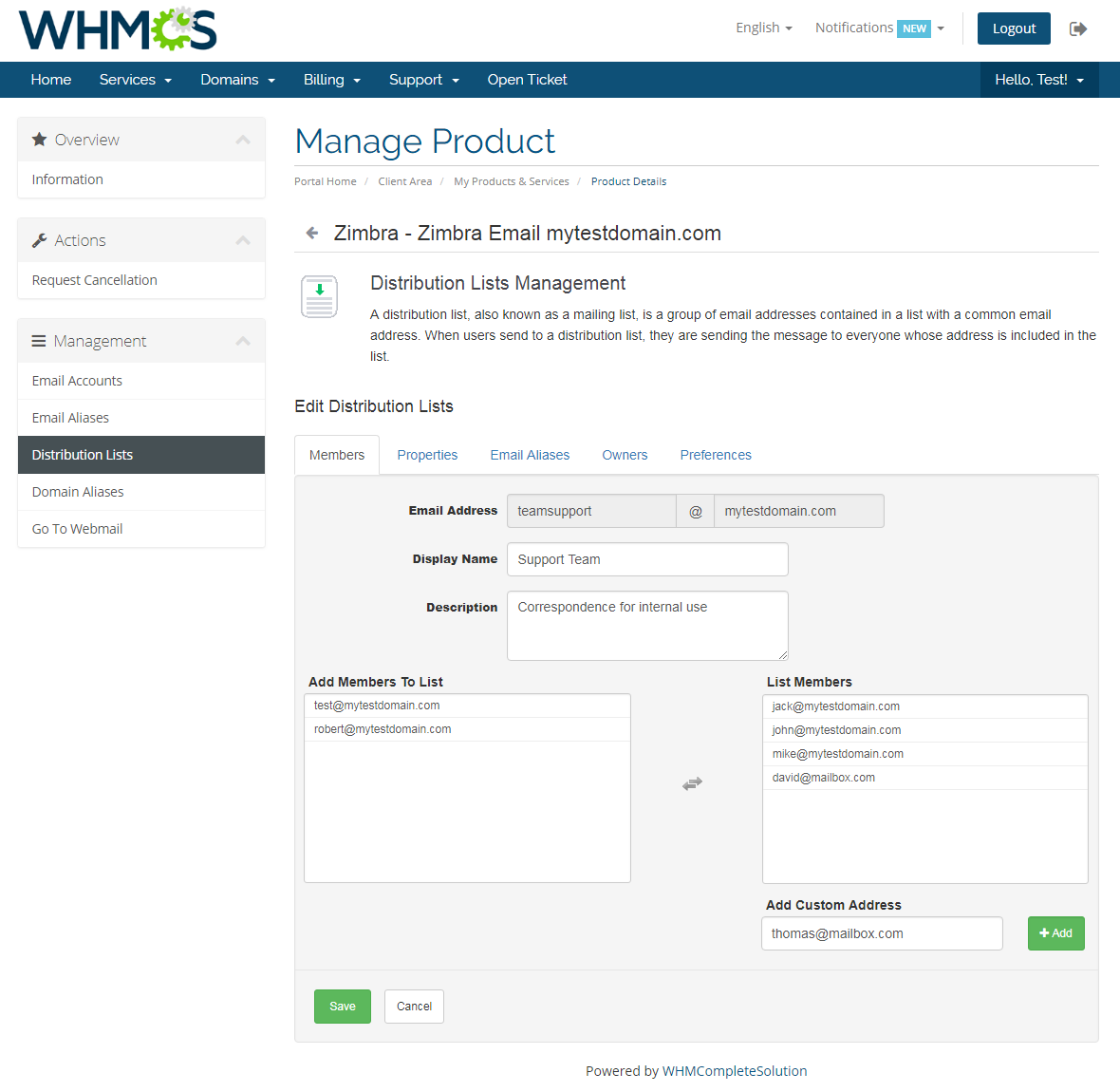 Zimbra Email For WHMCS: Screen 6