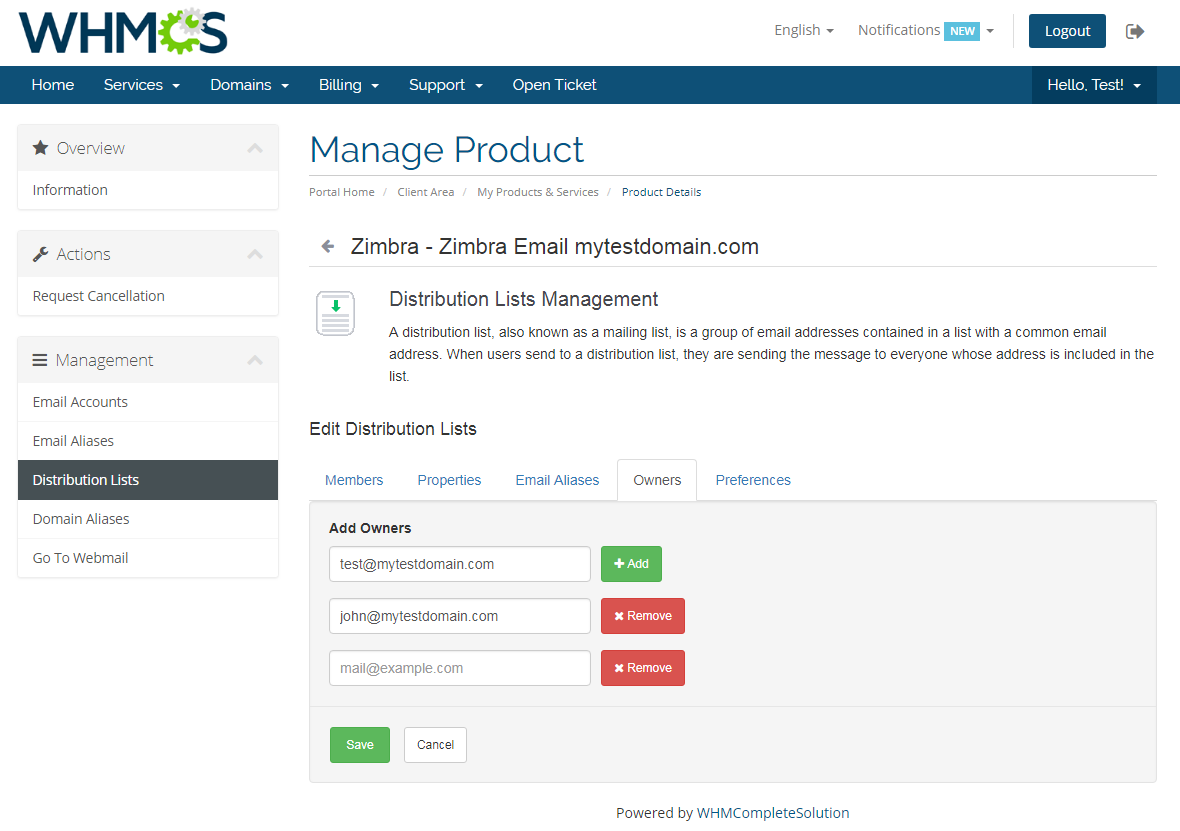 Zimbra Email For WHMCS: Screen 9