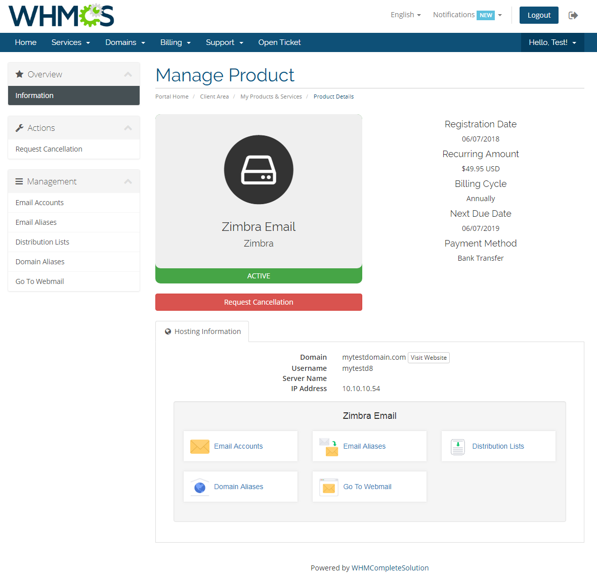 Zimbra Email For WHMCS: Module Screenshot 1