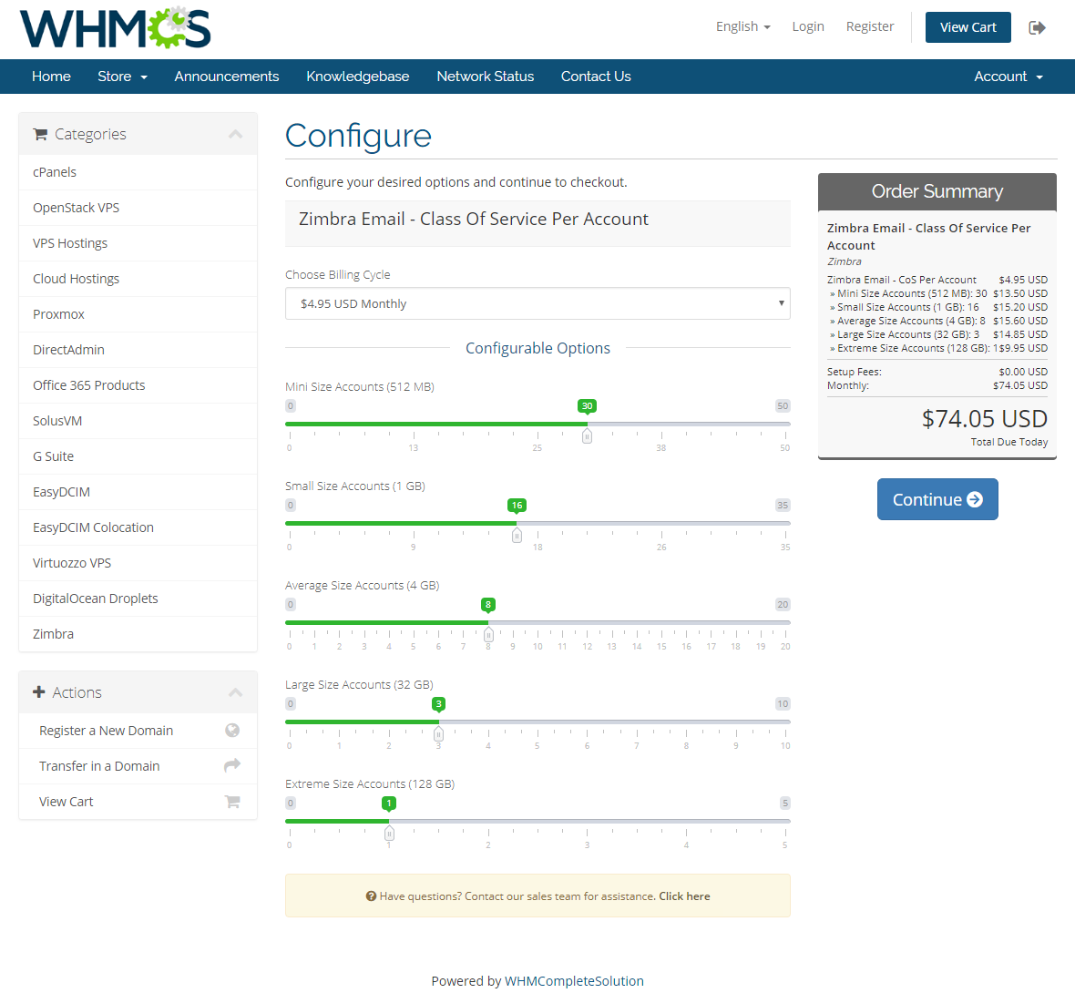 Zimbra Email For WHMCS: Module Screenshot 13