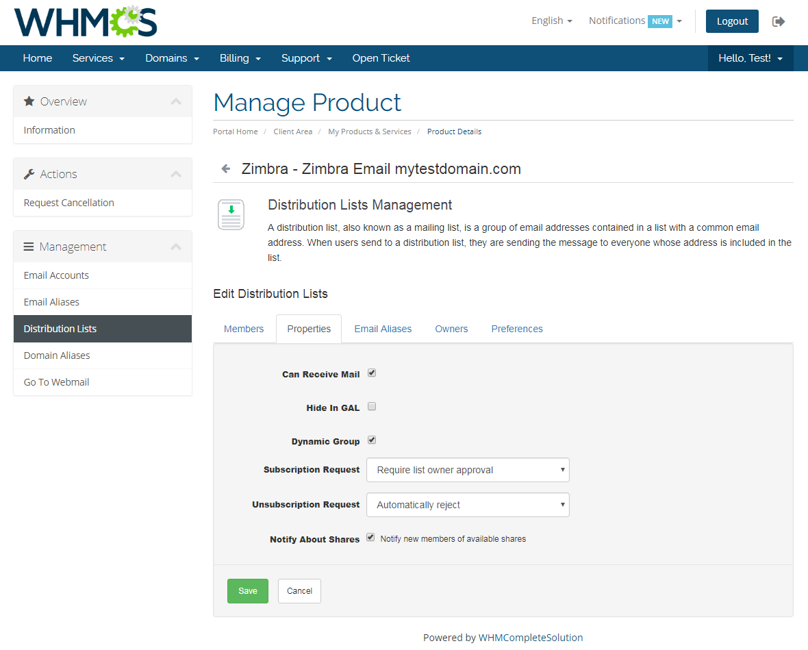 Zimbra Email For WHMCS: Module Screenshot 7