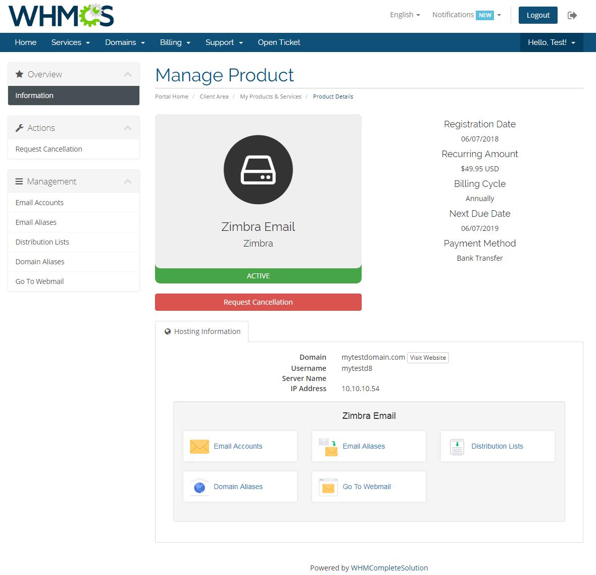Zimbra Email For WHMCS: Module Screenshot 1