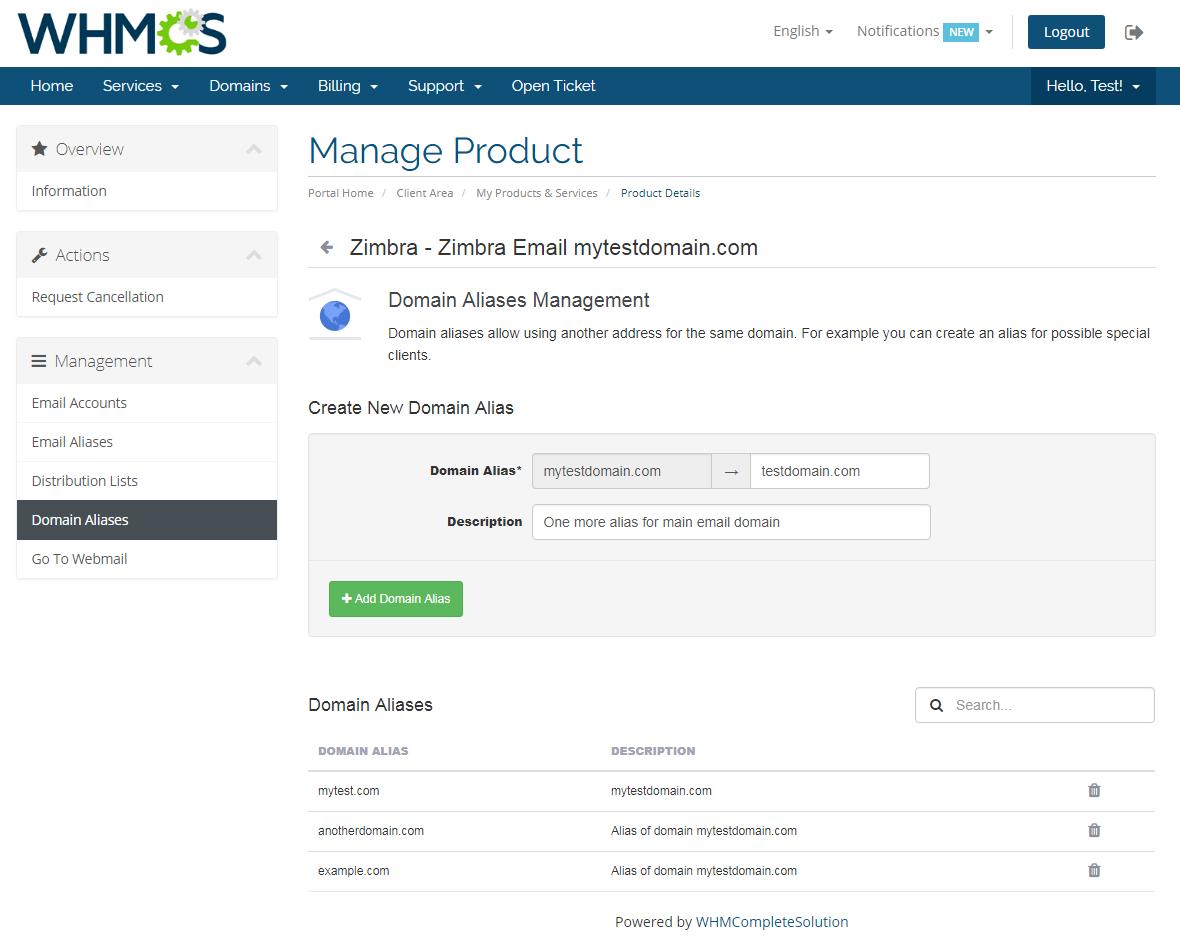 Zimbra Email For WHMCS: Module Screenshot 11