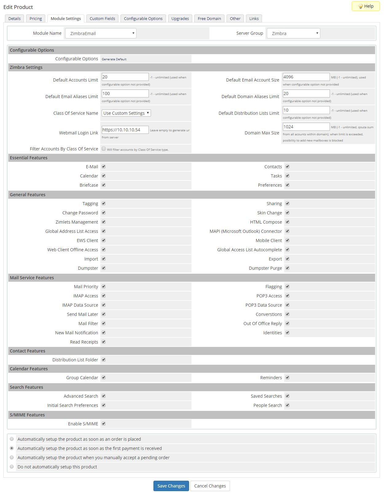 Zimbra Email For WHMCS: Module Screenshot 15