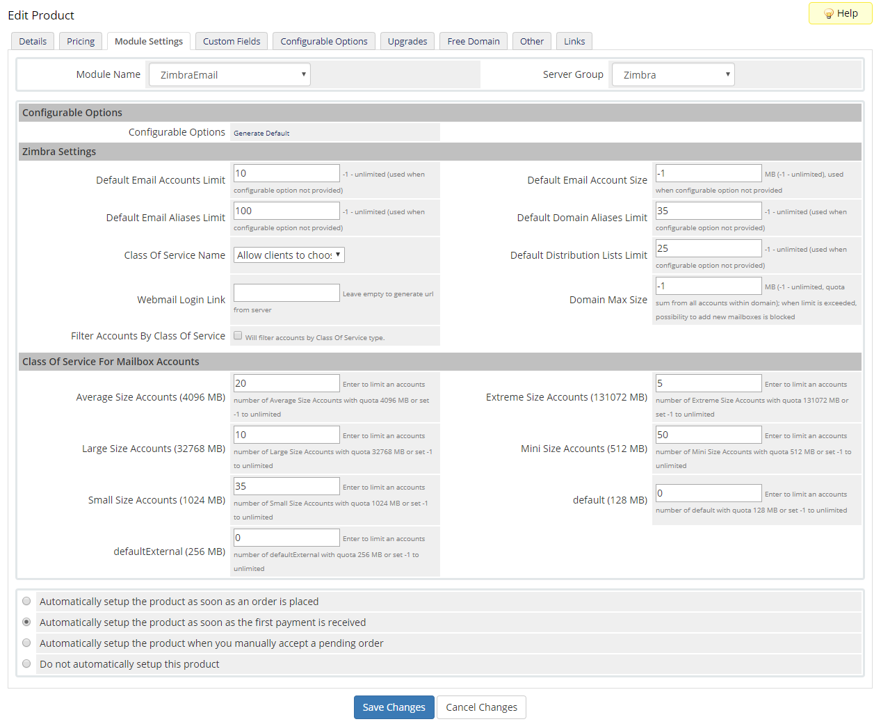 Zimbra Email For WHMCS: Module Screenshot 16