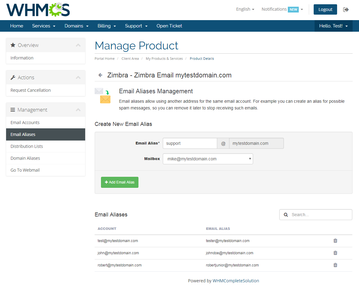 Zimbra Email For WHMCS: Module Screenshot 4