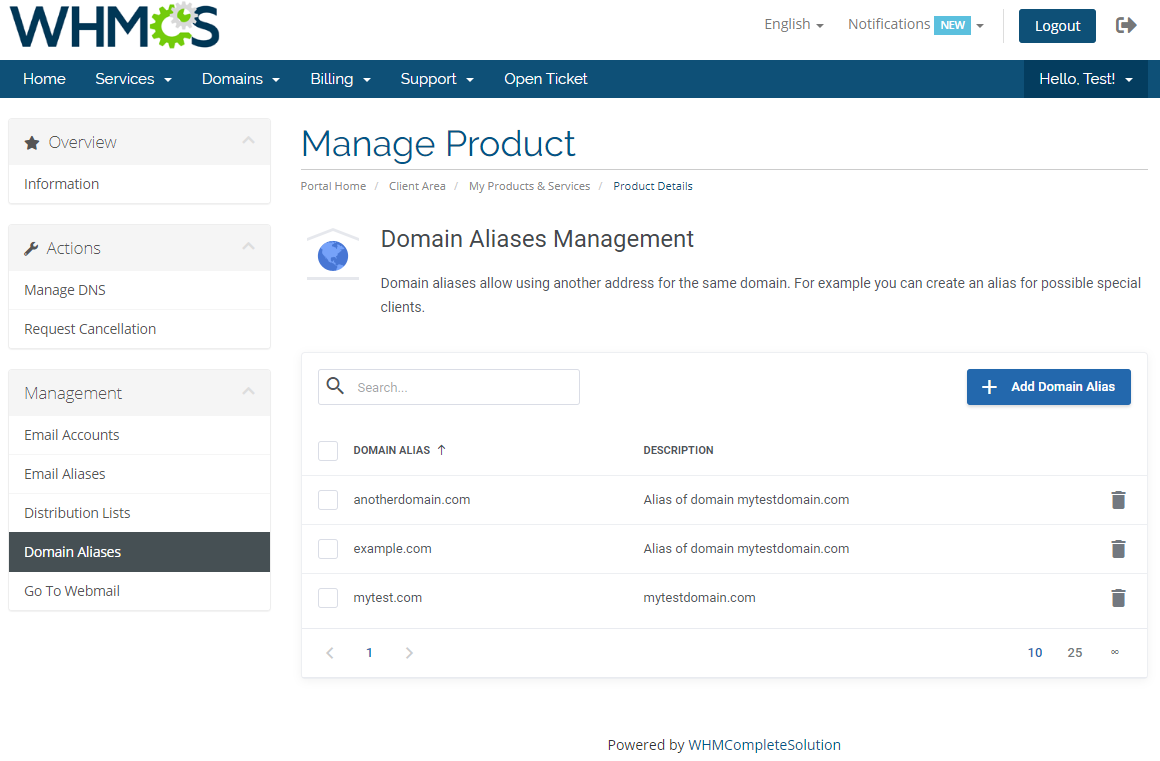 Zimbra Email For WHMCS: Module Screenshot 12