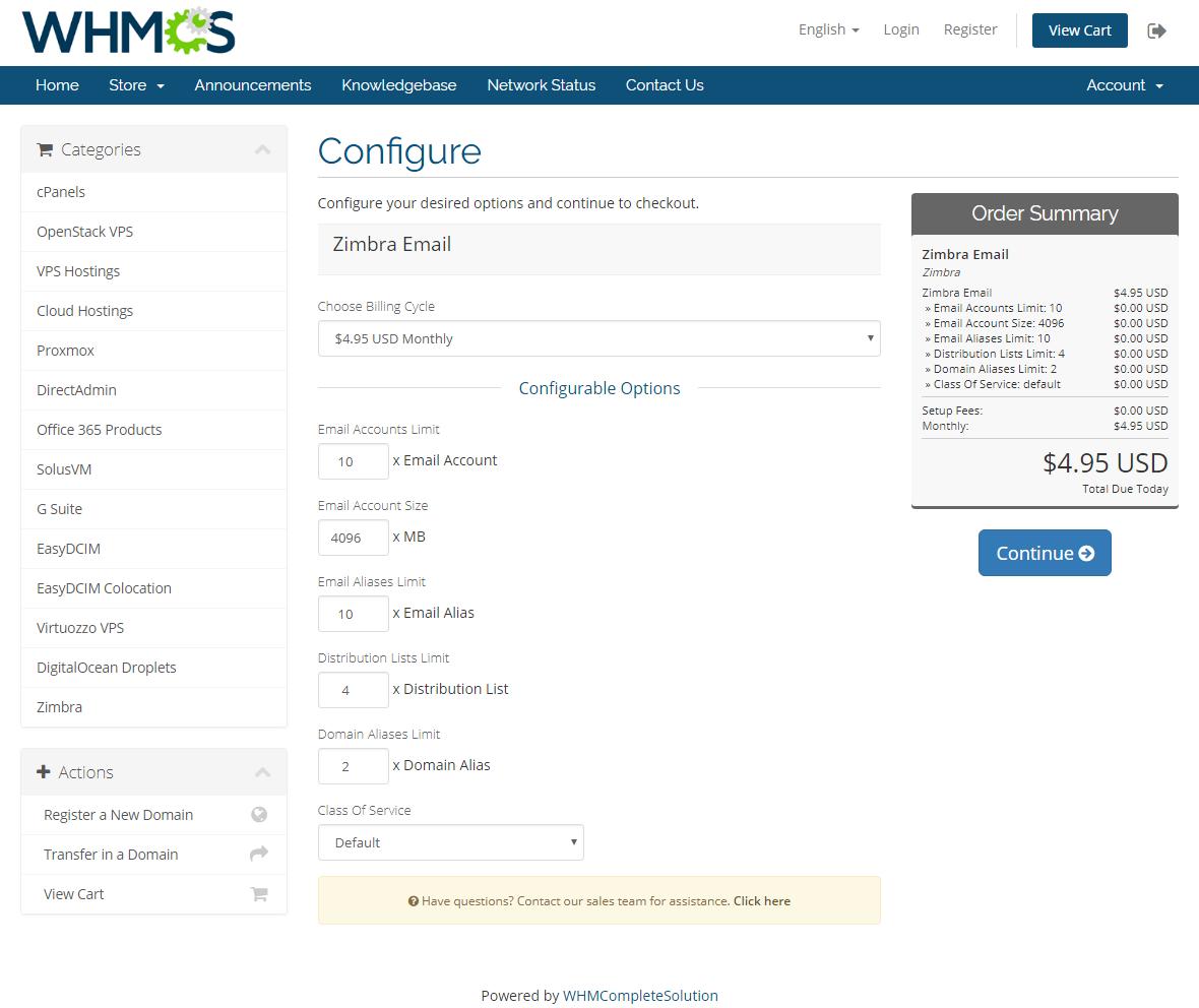 Zimbra Email For WHMCS: Module Screenshot 13