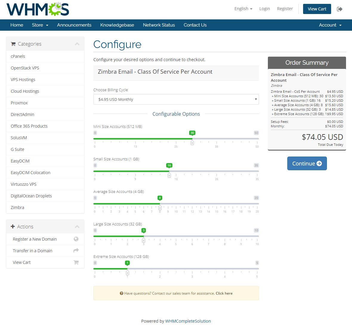 Zimbra Email For WHMCS: Module Screenshot 14
