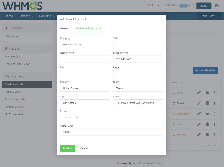 Zimbra Email For WHMCS: Module Screenshot 4