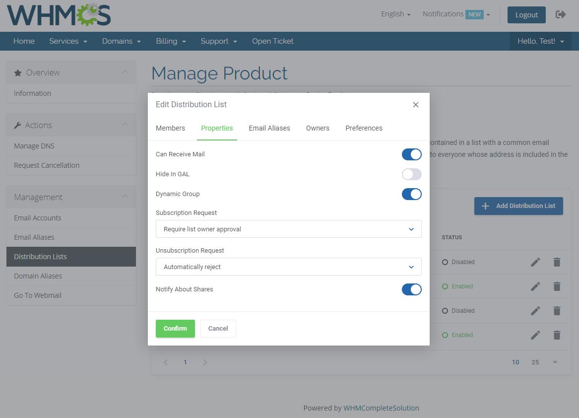 Zimbra Email For WHMCS: Module Screenshot 8