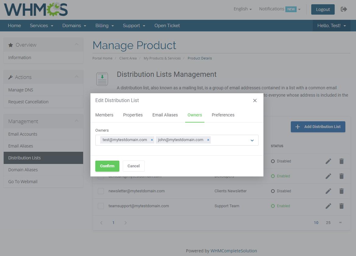 Zimbra Email For WHMCS: Module Screenshot 10
