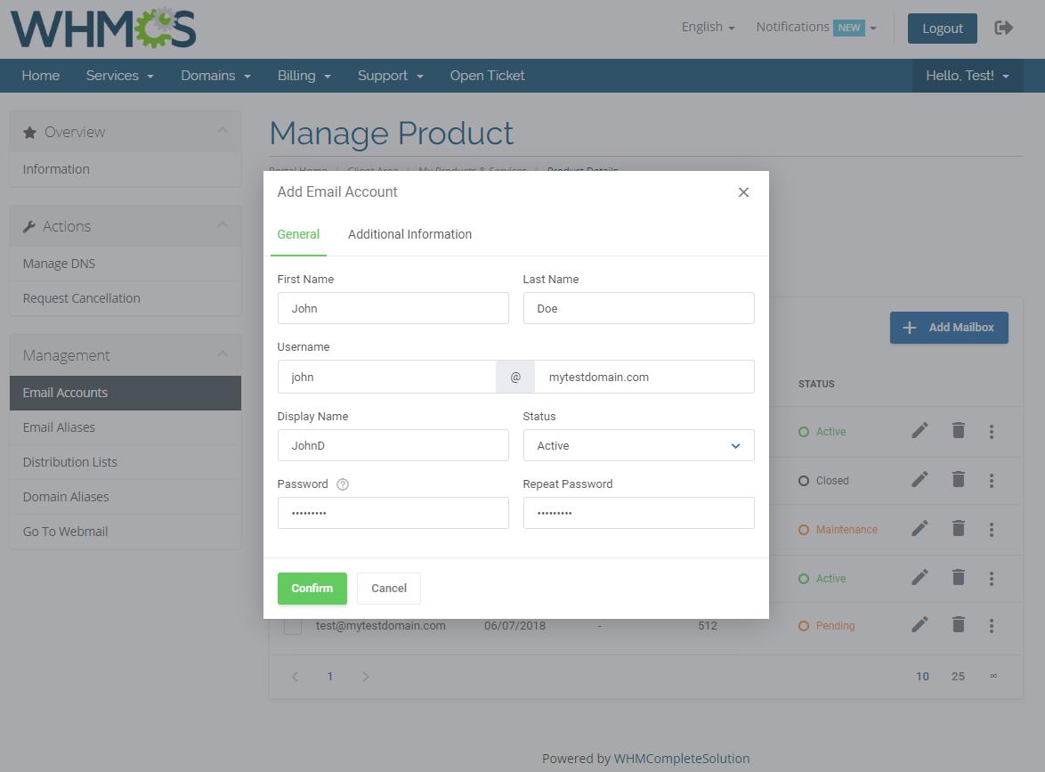 Zimbra Email For WHMCS: Module Screenshot 3