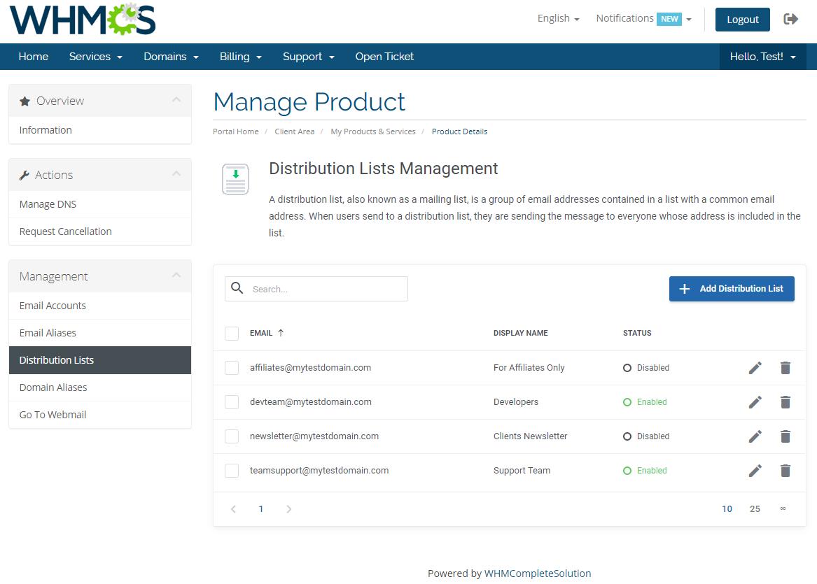 Zimbra Email For WHMCS: Module Screenshot 6
