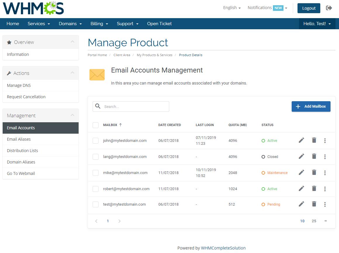 Zimbra Email For WHMCS: Module Screenshot 2