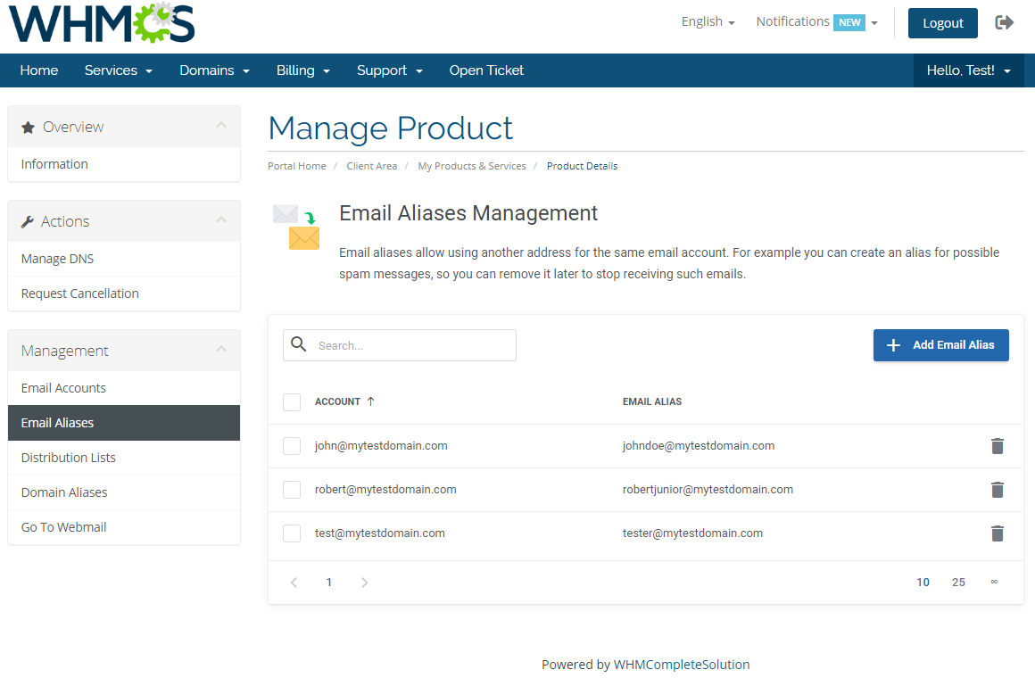 Zimbra Email For WHMCS: Module Screenshot 5