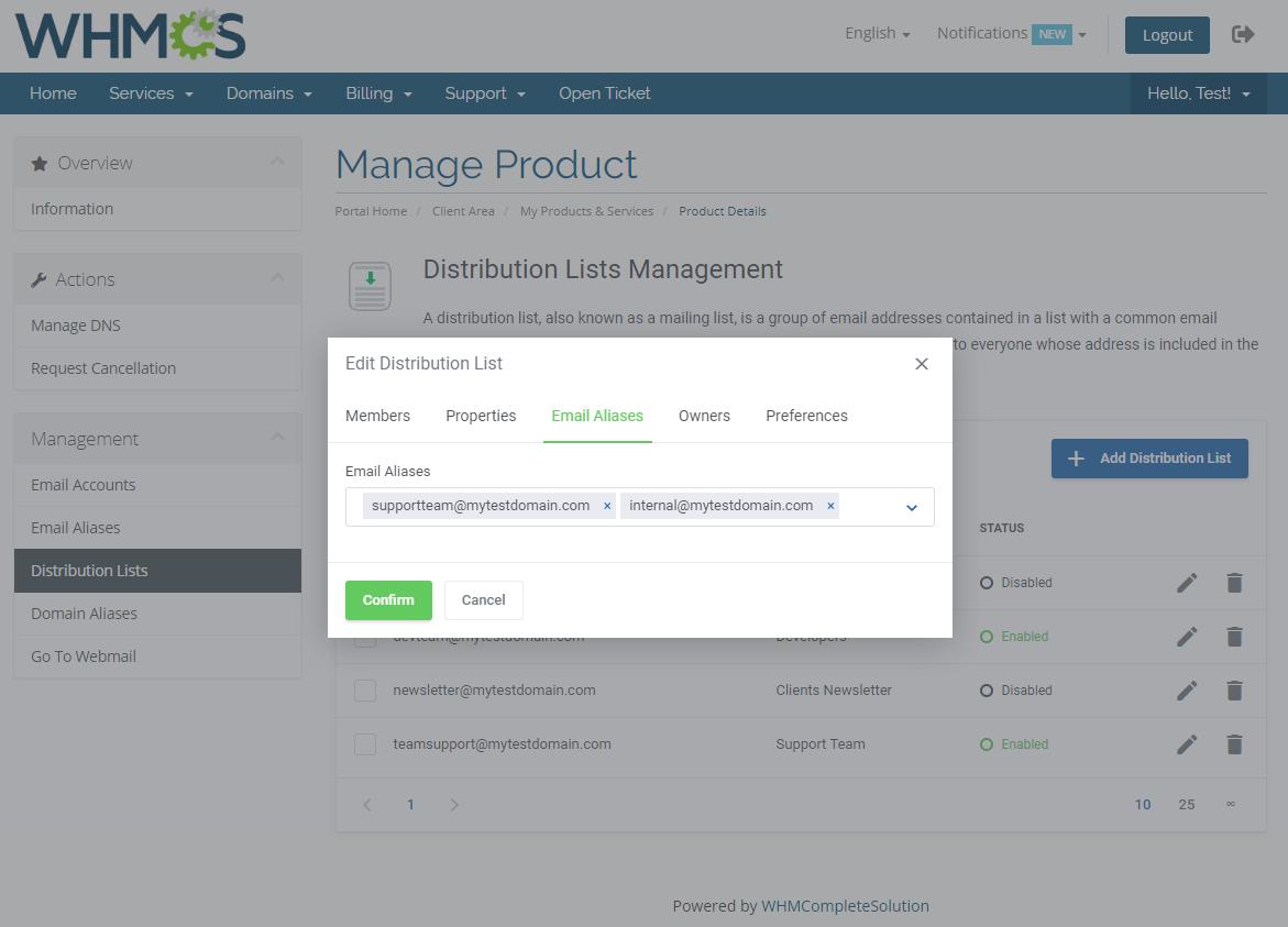Zimbra Email For WHMCS: Module Screenshot 9